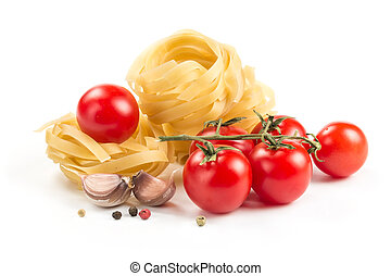 Noodle nest with tomatoes