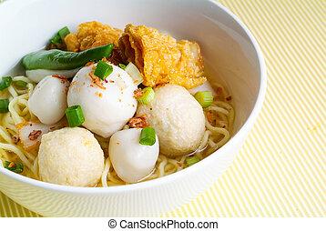 noodle, soup., ásia, alimento