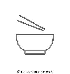 Noodle soup, bowl with chopsticks line icon.