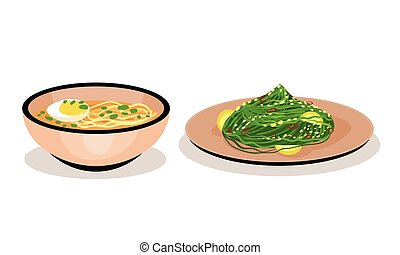 Noodle Soup in Bowl and Seaweed with Lemon Served on Plate Vector Set