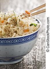 noodle - prawn flavor asian soup with noodles close up shoot