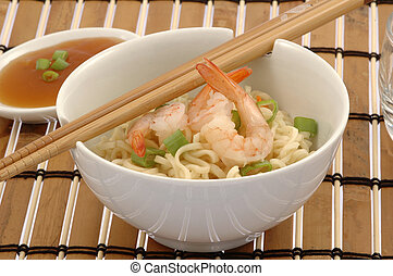Noodles and Shrimp - Bowl of delicious oriental noodles with...