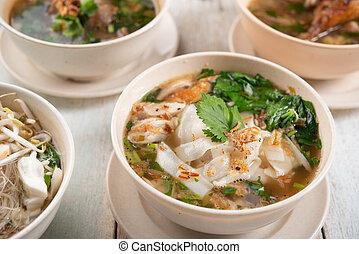 Noodles and soup. - Various Southeast Asian dishes, noodles...