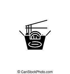 Noodles black icon concept. Noodles flat  vector symbol, sign, illustration.