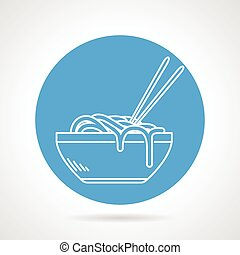 Noodles blue round vector icon