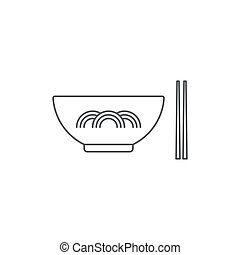 Noodles bowl vector icon symbol isolated on white background