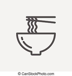 Noodles Bowl with a pair of chopsticks thin line icon - Bowl...
