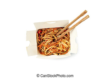 Noodles in carton box isolated on white background. Food delivery