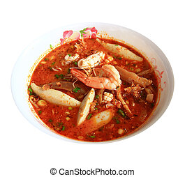 Noodles in Sour and spicy shrimp soup (Tomyum Kung)