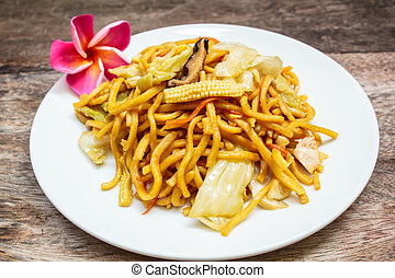 Noodles Japanese Yakisoba, vegetarian food.