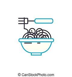 Noodles linear icon concept. Noodles line vector sign, symbol, illustration.