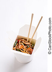 Noodles on white isolated background