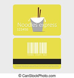 Noodles restaurant. Template loyalty card design. Flat style...