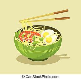 Noodles vector flat illustration