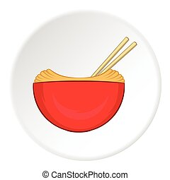 Noodles with chopsticks icon, cartoon style