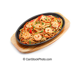 Noodles with shrimp isolated on white background.