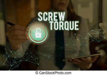 noodzakelijk, torque., conceptueel, schroef, zakelijk, kracht, nut., schrijvende , spinnen, hand, tekst, strengeling, maatregel, foto, het tonen