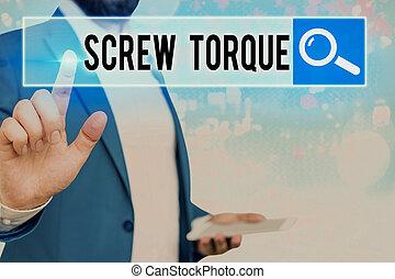 noodzakelijk, torque., woord, schroef, zakelijk, kracht, nut., schrijvende , spinnen, tekst, concept, strengeling, maatregel