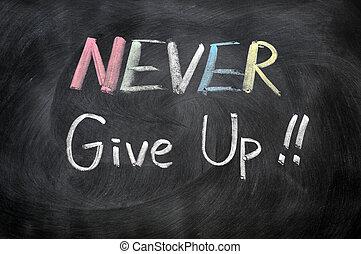 nooit, op, geven