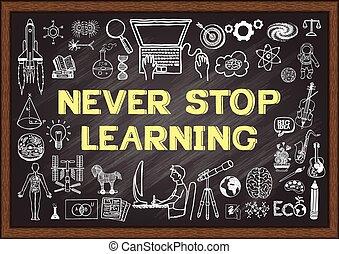 nooit, stoppen, chalkboard, leren