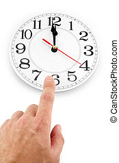 noon, concept of time control - hand and clock with white ...