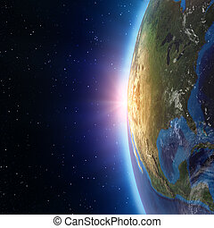 noord-amerika, ondergaande zon , van, ruimte