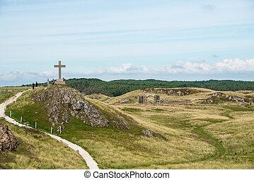 noordelijk eiland, dwynwen's, kruis, llanddwyn, anglesey, wales, st