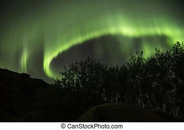 noordelijk, ijsland, dageraad, lichten, groene, borealis
