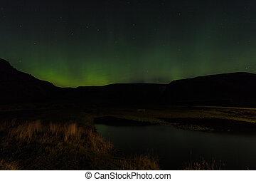noordelijk, ijsland, dageraad, lichten, skogar, borealis