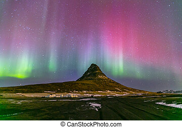 noordelijk licht, dageraad, ijsland