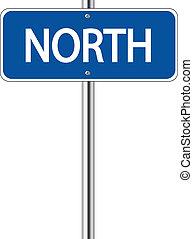 noorden, blauwe , verkeersbord