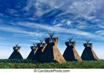 noorden, indiaans amerikaan, tepees