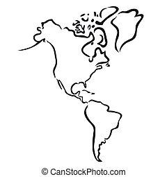 noorden, kaart, amerika, zuiden