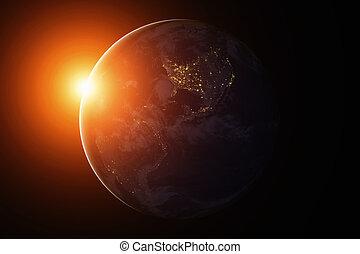 noorden, ruimte, america., zuiden, aarde, night.