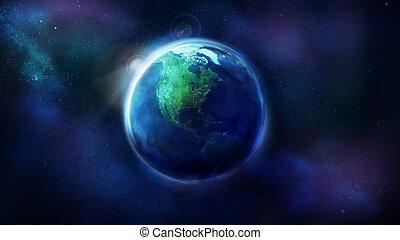 noorden, ruimte, het tonen, realistisch, america., aarde, zuiden