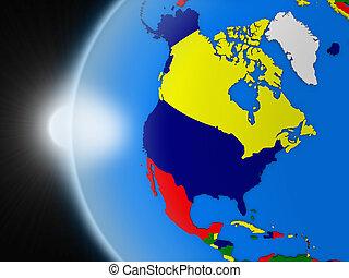 noorden, ruimte, op, amerikaan, ondergaande zon , continent
