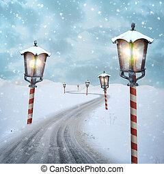 noorden, sneeuw, pool, kerstmis, straat, lantaarntje