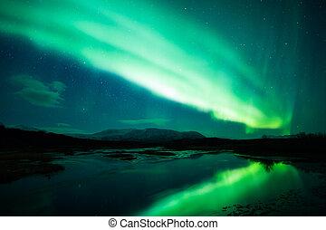 noorderlicht, in, ijsland