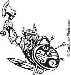 noords, viking, -, vector, illustration., vinyl-ready.