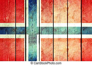 noorwegen, houten, grunge, flag.