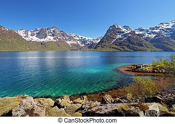 noorwegen, moutain, zee, meer, landcape