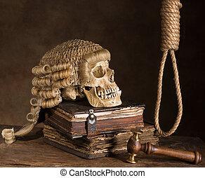 Noose and judge's wig symbolizing death sentence
