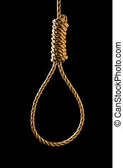 Noose isolated on black - An execution or suicide noose...