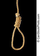 Noose - Rope noose on black background