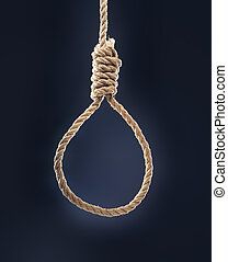 Noose - Rope noose with hangman's knot hanging in front of...