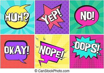 nope, approvazione, yep, discorso, retro, bolle, comico