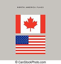 nord america, bandiere