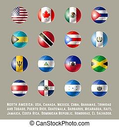 nord america, bandiere, rotondo
