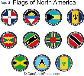 nord, america., drapeaux, 2.