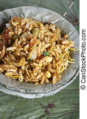 nord,  bhel, nourriture,  -, Inde, rue,  puri